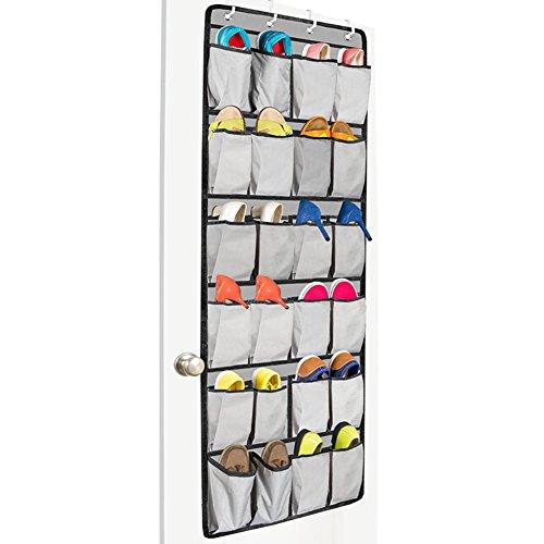 Missofsweet Oxford 24tasche sacca per scarpe sopra la porta organizer da appendere, scarpe rack pieghevole (Grigio Su Misura Seat Covers)