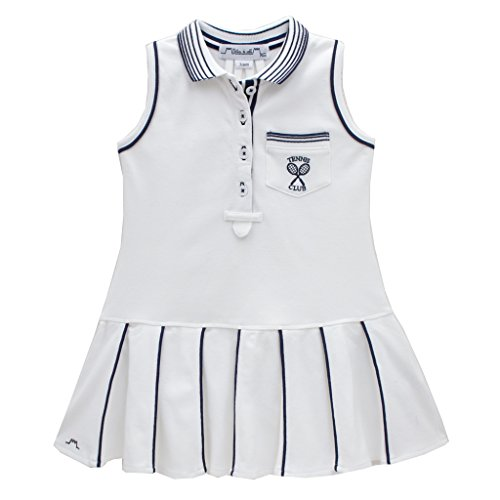 Chateau de sable Mädchen Französischen Designer Tennis Kleid Navy Trim Gr. 5 Jahre-6 Jahre, weiß (Designer Kleid Kinder)