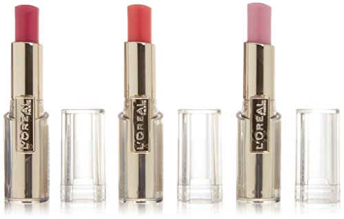loreal-rouge-caress-set-da-3-rossetti-colore-aphrodite-scarlet-pink-fashionista-impulsive-fuschia