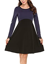 9e677fa35bf1 Finejo Damen Skaterkleid Elegant Kleider Basic Kleid A-Linie Partykleider  O-Ausschnitt mit Falten