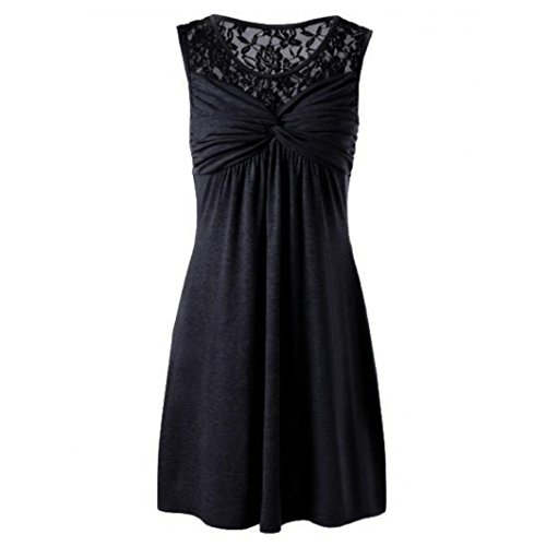 VEMOW Elegante Damen Frauen Sommer Solide O-Ausschnitt Sleeveless Spitze Blumen Patchwork Party Strand Training Tanz Bogen Kleid Party Rock(Schwarz, EU-44/CN-2XL)