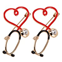 KESYOO 2pcs Heart Brooch Pin Doctor Nurse Enamel Lapel Pin Rhinestones Alloy Collar Buttons For Clothes Bags Hats (Heart Shape Stethoscope Style)