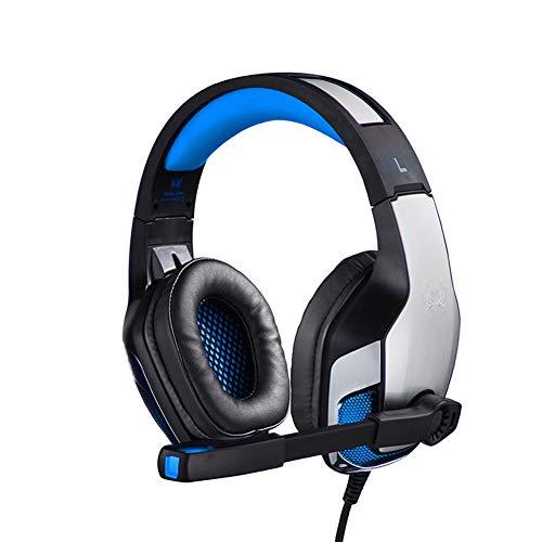 Gaming-Headset, PS4 Xbox One Headset, Stereo-PC-Headset Noise Abbrechen Gaming-Kopfhörer Mit MIC, Komfort-Memory-Ohrmuffs, Lautstärkeregelung Für Xbox 1 Playstation 4 Controller-Laptop (Blau/Rot),B