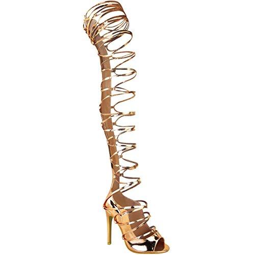 Damen Stiefel-Sandalen mit Stiletto-Absatz - mit Schnürung bis zum Oberschenkel - Roségoldfarben Metallic - EUR 37 (Gold High Stiefel Heel)