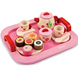 Toyshine Wooden Princess Afternoon Tea Party Set Pretend Play Toy For Girls (18 Pcs)