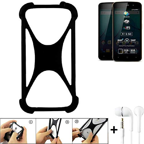 K-S-Trade Bumper Allview P6 Plus Schutzhülle Handyhülle Silikon Schutz Hülle Cover Case Silikoncase Silikonbumper TPU Softcase Smartphone, schwarz (1x), Headphones