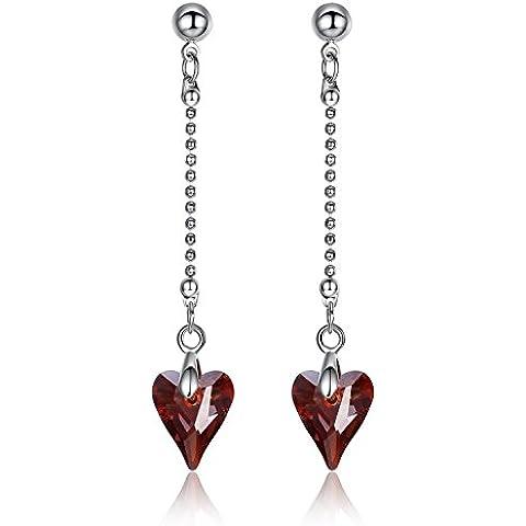 GoSparking Siam cuore rosso di cristallo 18K oro bianco placcato lega orecchini pendenti con cristallo austriaco per le donne