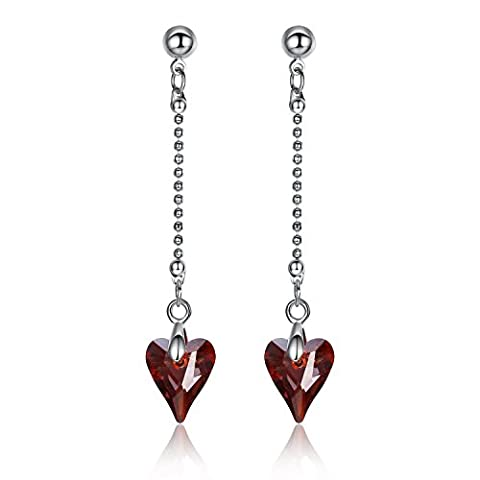GoSparking Siam Red Heart Crystal White alliage d'or plaqué boucles