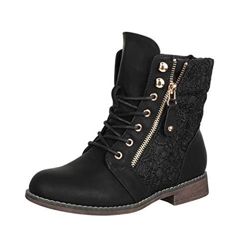 Elara Damen Stiefeletten Worker Boots Spitze Chunkyrayan B9812-KB-Schwarz-40