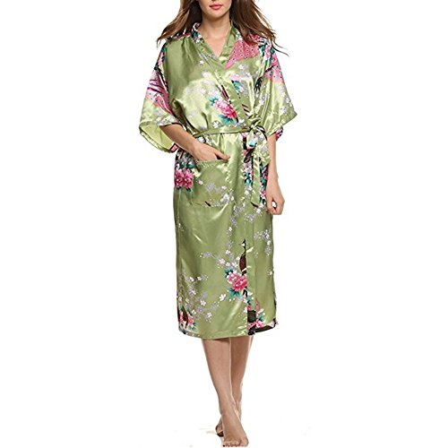 Damen Bademantel, Canvalite Sexy Damen Peacock Blume Kimono Negligee Morgenmantel mit Gürtel, glatte Satin, tiefer V-Ausschnitt, lang (Creme Leinen-look Herren)
