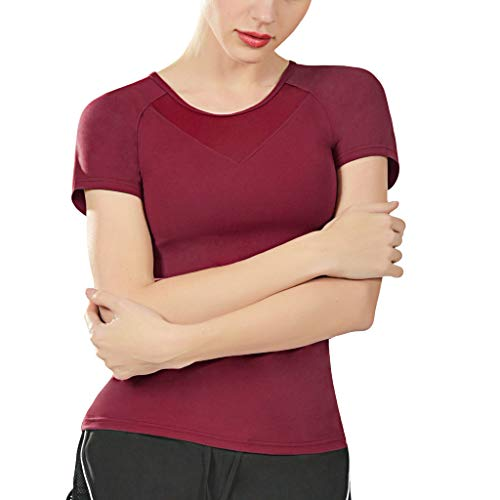 Patifia Damen Bluse Sommer, Mode Frauen Einfarbig Sport Yoga Fitness Workout Mesh Kurzarm Elastisch Oansatz T-Shirt Tops Sweatshirt Crop Tank Tops