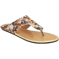 Le Fete Women's Beige Flat Sandals -40