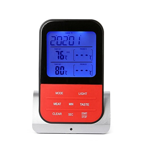 Grill Dual-funktion (TOOGOO Drahtlose Grill Thermometer Dual-Probe elektronische wasserdichte Haushalts Kueche Essen Thermometer)