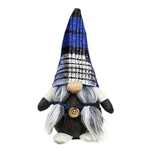 Moda LXLJ Legato barba Gnome Fatto a mano Svedese Natale Santa Tomte Peluche Doll Figurine per le vacanze Giocattolo Ornamenti per la casa di Natale