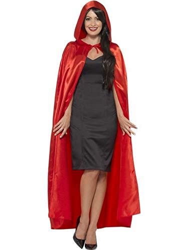 Halloweenia - Damen Frauen Herren Devil Teufel Cape Umhang Gewand Kostüm mit Kapuze, perfekt für Halloween Karneval und Fasching, One Size, Rot