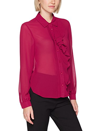 Sisley Blouse with Asymmetric Ruffles, Camicia Donna Rosso (Burgundy 08m)