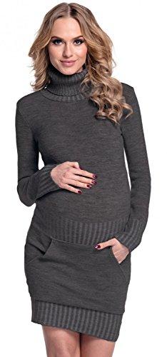 Happy Mama Damen - Umstands Stretch Strick-minikleid Tasche Rollkragen. 178p (Graphit, EU 36/38, ONE SIZE)