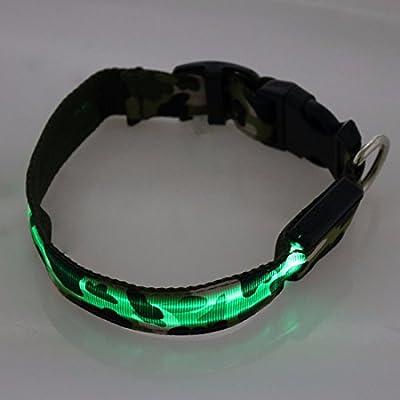 YiZYiF Hunde Leuchthalsband LED Blinkhalsband für Leuchtschlauch leuchtendes Camouflage Hundehalsband Blinki Sicherheits-Hundehalsband S, M, L, XL