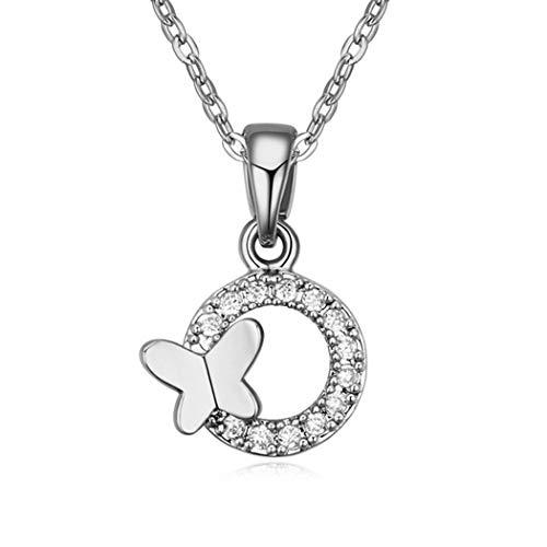 WUFANGFF Zirkon Halskette Damen Schmuck Bow Tie Modellierung Minimalistische Mode, Weiss