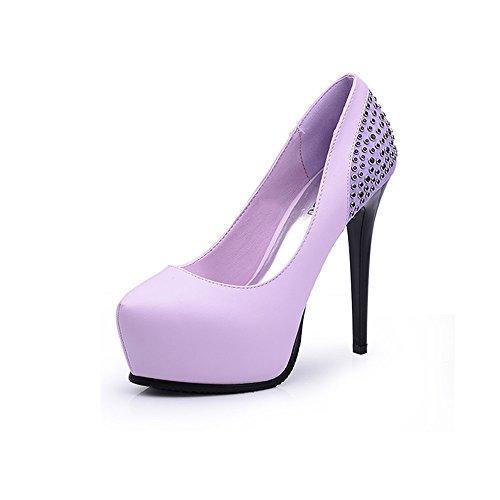 Pumps XUERUI Neue elegante Schuhhochhackige Schuhe der klassischen Art mit Schuhen der wasserdichten Plattformdiamant-Art und Weisefrauen (Farbe : Lila, größe : EU38/UK5.5/CN38)