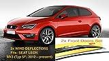 2x Deflettori D'Aria Compatibile con Seat Leon III MK3 (Tipo 5F, 2012-present) 3 Porte Hatchback Antiturbo Per Auto Vetro Acrilico Anti Vento Guardia di Pioggia Sole Neve Qualità premium PMMA