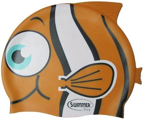 Cuffia da piscina in silicone a forma di pesce tropicale taglia unica per il nuoto (arancione)
