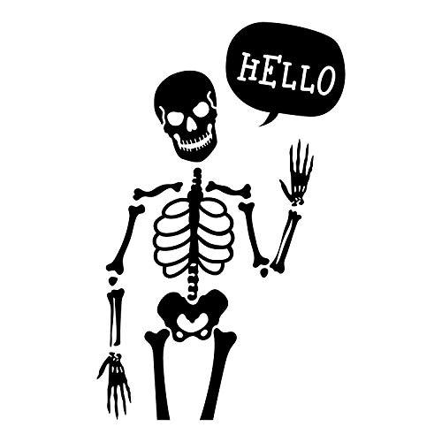 - Hello Skelett - 88,9 x 55,9 cm - Gruselige Halloween-Dekoration, Aufkleber - für Innen- und Außenbereich, Wandtür, Wohnzimmer, Schule, Schlafzimmer, Zuhause, Büro, Wohnung ()