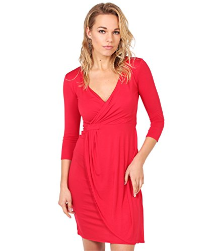 6174-RED-20: Einfarbiges Kreuzender V-Ausschnitt Jersey Kleid (Rot, Gr.48)