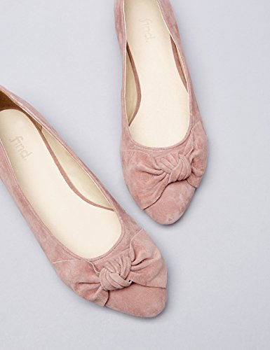 FIND Ballerina Scamosciata con Fiocco Donna Rosa (Light Purple)