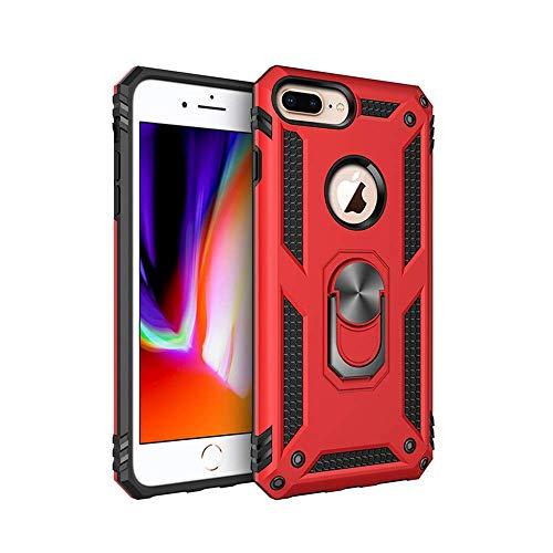 Compatible with iPhone 6 Plus Hülle, Dual Layer Handyhülle iPhone 7 Plus mit Drehbar Ringhalter Anti-Fall Bracket-Rüstung Heavy Duty iPhone 8 Plus Schutzhülle (iPhone 8 Plus, Rot) (Hybrid-rüstung 6 Iphone Fällen)