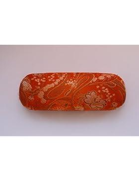 Arancione, con decorazioni in oro, con ricamo decorativo, Custodia per occhiali