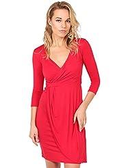 KRISP® Femmes Robe Portefeuille Mi-Longue Elégante Chic