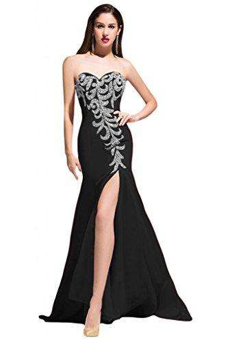 Sunvary taglio Slim della linea Sweetheart laterali per abiti da sera Pageant Gowns Importato da Regno Unito] Black