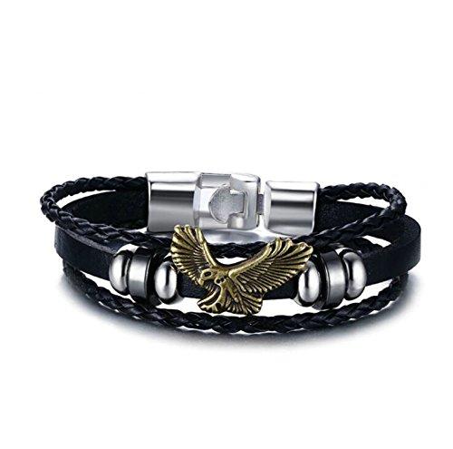 BeyDoDo Modeschmuck Edelstahl Armband für Männer mit Adler Anhänger Biker Lederarmband Herrenarmband Link Armbänder Schwarz Länge 20CM Ipod Nano-halter