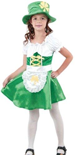 Luxuspiraten - Mädchen Kostüm St. Patricks Day mit Kleid, Schürze und Hut, 122, Grün (St Patrick's Day Kostüm Für Kleinkind)