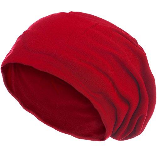 style3 Slouch Beanie aus atmungsaktivem, feinem und leichten Jersey Unisex Mütze Haube Bini Einheitsgröße, Farbe:Rot