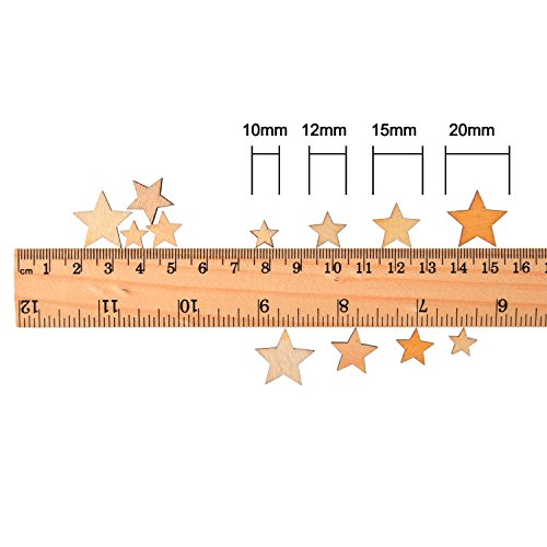 200 Pieces Wooden Stars Blank Wood Star Slices Mini Star Embellishments for Wedding Crafts Making DIY, 4 Sizes Mixed