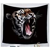 BAOQIN 60*80 Inches Unique Design Wonderful Prints White tiger crawling Tapestry Wall Hanging Artistic Polyester Fabric Cottage Dorm Wall Art Home Decoration Black Wall decoration150130cm(59