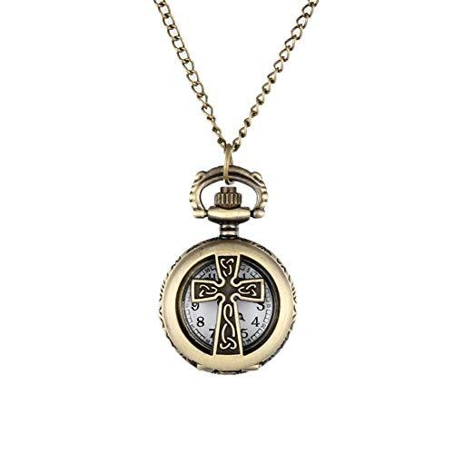 Taschenuhr Neue Vintage Bronze Kruzifix Kreuz Hohl Quarz Tasche Uhr Halskette Anhänger Frauen Männer Geschenke