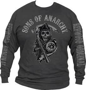 Sons of Anarchy Fear The Reaper Mens Long Sleeve Gris T-Shirt | M