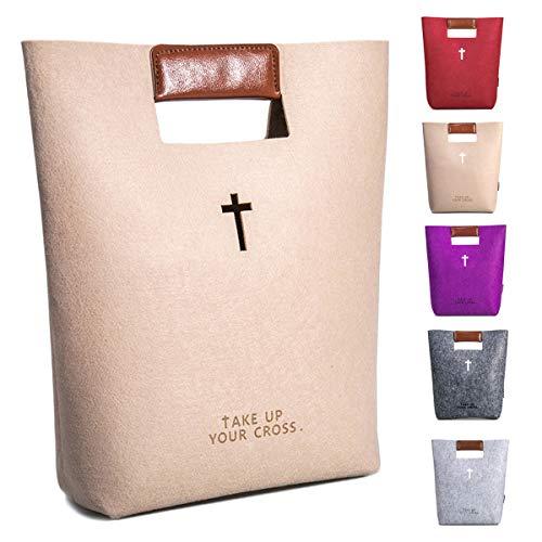 agapass Kreuz Bibel Bezüge Große Bibel Tasche für Frauen Kirche Tasche mit Kunstleder Griffen, christliches Geschenk, hellgrau Beige Tote Bag (Tragetaschen Bibel-taschen Und)