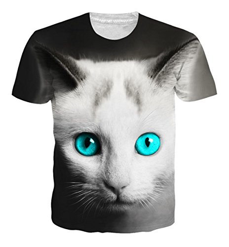Uideazone Frauen-Mens-Paar-kühle Katzen-Kurzschluss-Hülsen-T-Shirts (Katze Schwarze Anzug)