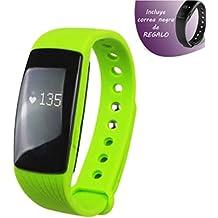 Leotec - Pulsera fitness touch pulse verde - display tactil 1.24cm - pulsometro - aviso de chats y men