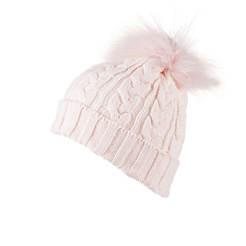 HAT230-Pink Cable Knit Bobble Beanie Hat with Detachable Matching Faux Fur Pom Pom (Knit Pink Cable)