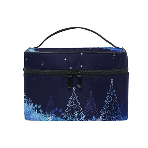 ALAZA Sac cosmétique Snowflakes Arbre de Noël Lune Maquillage Voyage cas de stockage Organisateur