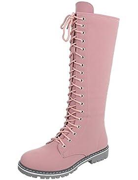 Schnürstiefel Damenschuhe Klassischer Stiefel Blockabsatz Schnürer Reißverschluss Ital-Design Stiefel