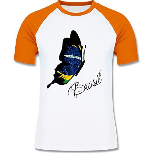 Länder - Brasil Schmetterling - zweifarbiges Baseballshirt für Männer Weiß/Orange