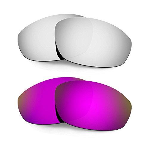 HKUCO Verstärken Ersatz-Brillengläser für Oakley Whisker Sonnenbrille Titan Mirror/Lila TAC Polarisiert