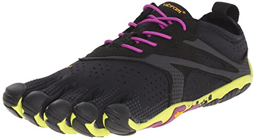 Vibram FiveFingers V-Run, Damen Outdoor Fitnessschuhe, Mehrfarbig (Black/Yellow/Purple), 38 EU (6.5-7 UK) (Neue Fivefingers)