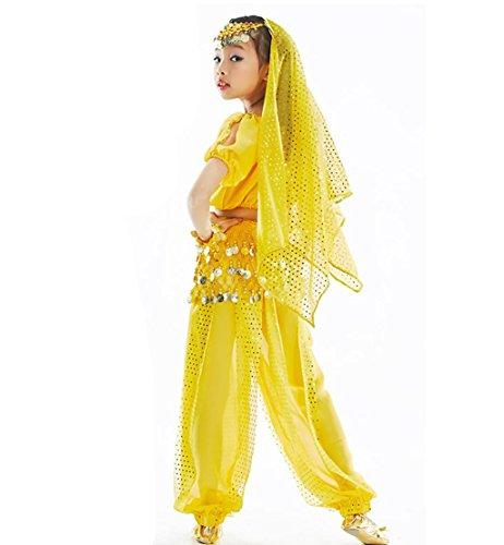 Tanzschule Kostüme (Wgwioo Kurze Ärmel Harem Spirale Mädchen Bauchtanz Kleidung Karneval Kinder Leistung Kleid Glänzend Tanzschule , 2 ,)